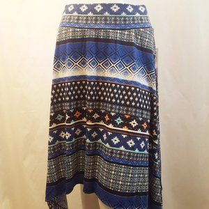 Joe B Asymmetrical Flare Skirt Blue Print Size M